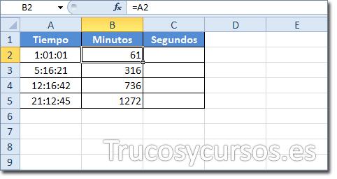 Hoja Excel: Celda B2 mostrando 61 como los minutos de 01:01:01