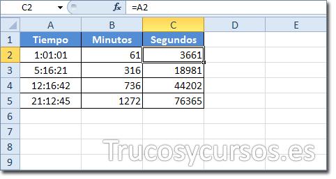 Hoja Excel: Celda C2 mostrando 3661 como los segundos de 01:01:01