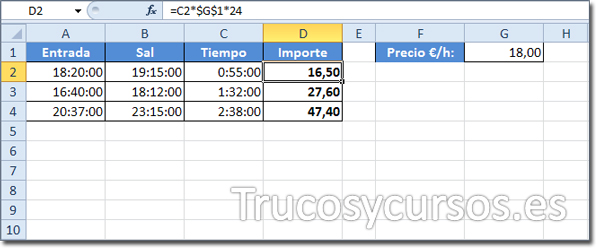 Hoja Excel con celda D2: (=C2*$G$1*24)