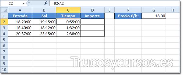 Hoja Excel con celda C2 (=B2-A2)