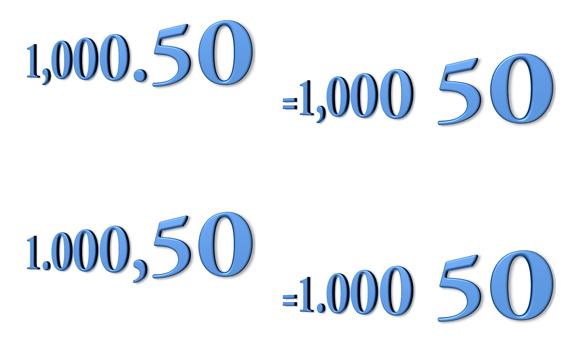 El espacio como separador decimal en Excel
