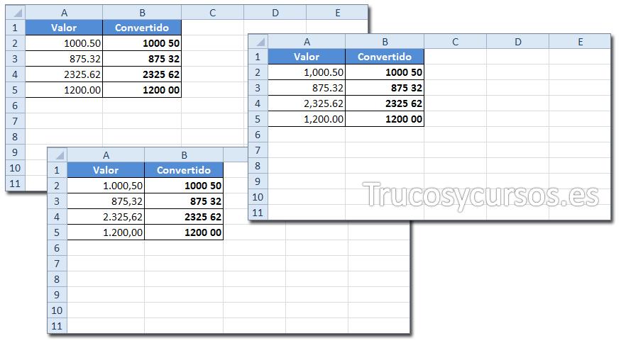 Hoja Excel con formato espacio como separador decimal en punto, como y sin separador de mil
