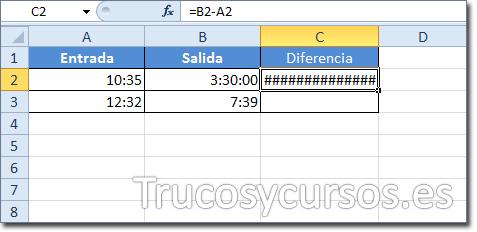 Celda C2 mostrando ##### por la diferencia de B2-A2