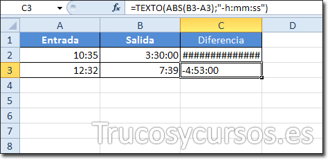 Celda C3 mostrando -4:53:00 como la diferencia de 7:39-12:32