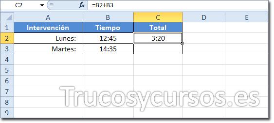 Celda C2 con el resultado 3:20 de la suma de B2+B3