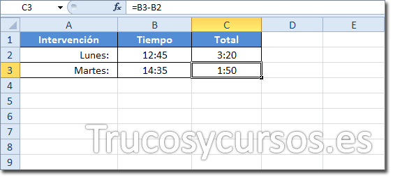 Celda C3 con el resultado 1:50 de la diferencia de B3-B2