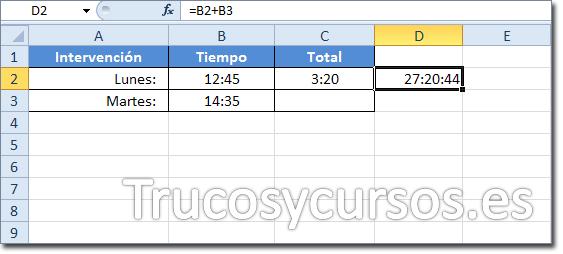 Celda D2 con el resultado 27:20:44 de la suma de B2+B3