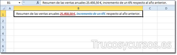 Celda Excel con formato normal y personalizado rojo, negrita y subrayado y personalizado azul, negrita y cursiva