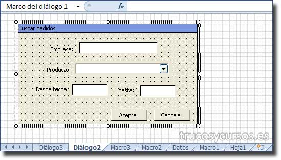 Hoja de diálogo Excel 5.0: Hoja de diálogo, con formulario insertado