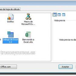 Hoja de diálogo Excel 5.0