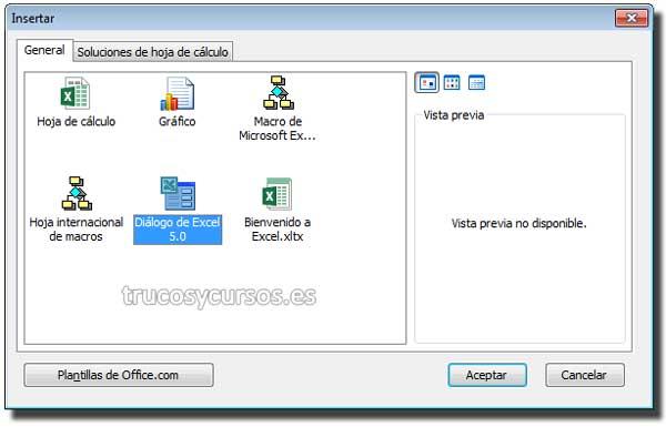 Ventana de insertar, Hoja de diálogo Excel 5.0
