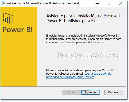 Asistente Power BI Publisher: Continuar con el asistente