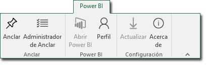 Pestaña Power BI de la cinta de opciones