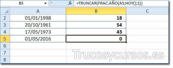 Celda B5 mostrando 0 como la edad del 01/05/2016 a la fecha 11/06/2016 (HOY).