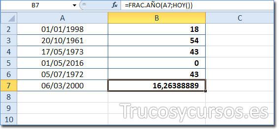 Celda B7 mostrando 16,26 como la edad del 06/03/2000 a la fecha 11/06/2016 (HOY).