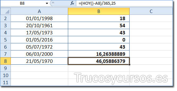 Celda B8 mostrando 46,05 como la edad del 21/05/1970 a la fecha 11/06/2016 (HOY).