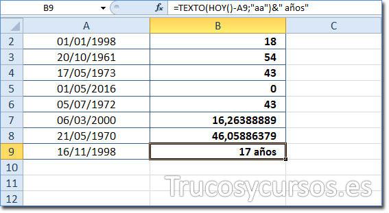 Celda B9 mostrando 17 AÑOS como la edad del 16/11/1998 a la fecha 11/06/2016 (HOY).