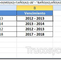 Vencimiento bianual en Excel