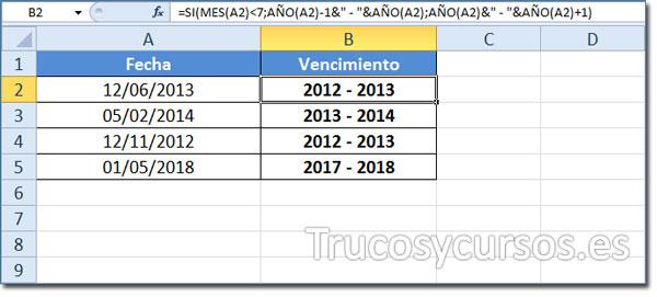 Vencimiento bianual en Excel: Celda B2 mostrando 2012-2013, al ser el mes junio.