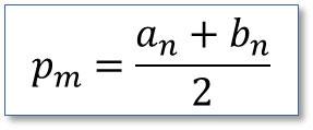 Método numérico Bisección, Algoritmo bisección P<sub>n</sub>=a<sub>n</sub>+b<sub>n</sub>/2