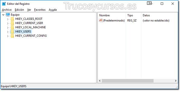 Valores predeterminados en Excel: Entorno del editor de registro, HKEY_USERS