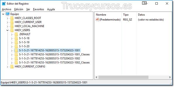 Valores predeterminados en Excel: Editor de registro con subnivel HKEY_USERS