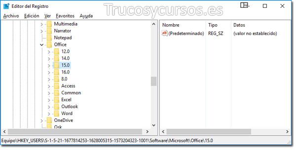 Valores predeterminados en Excel: Editor de registro con subnivel Office / 15.0