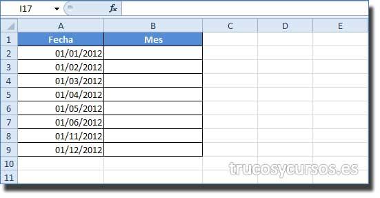Mes en letra: Rango A2:A9 con fechas a convertir.