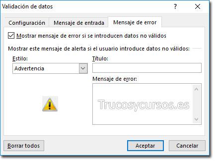 Ventana de validación con mensaje de error estilo advertencia