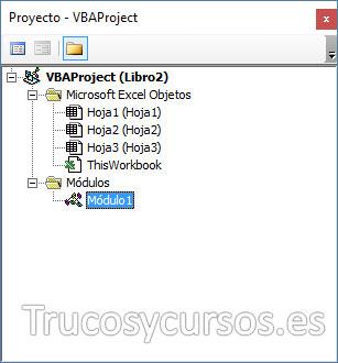 Explorador de proyectos con el módulo1 importado con el código VBA