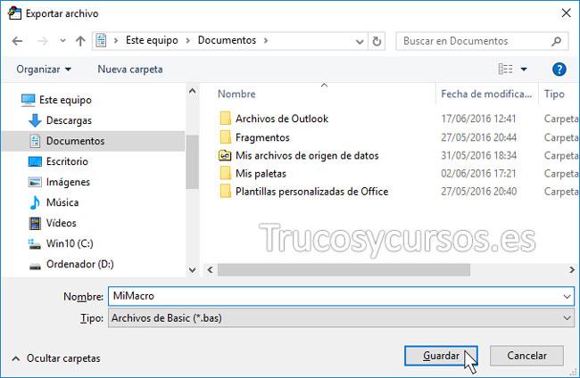 Exportar o importar una macro VBA en Excel: Ventana exportar archivo para indicar carpeta y nombre de archivo