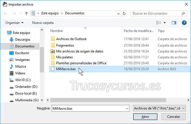 Exportar o importar una macro VBA en Excel: Ventana importar archivo para indicar carpeta y archivo
