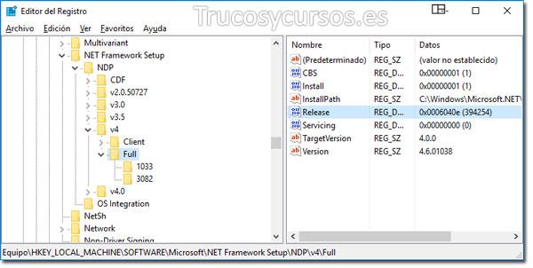 Ventana de Regedit con el dato 394254 de Release tipo Reg_DWord (.NET Framework 4.6.1)