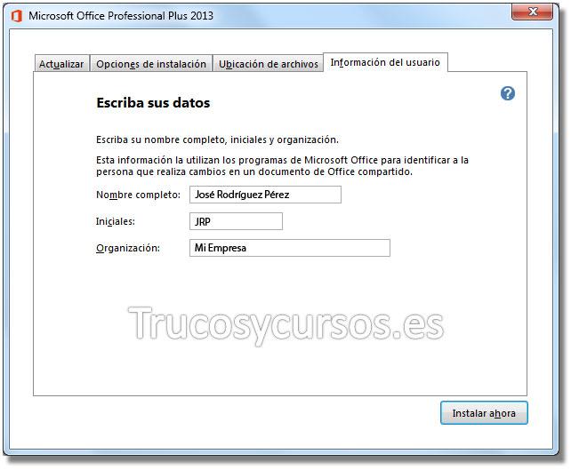 Ventana de instalación de Office 2013, información del usuario