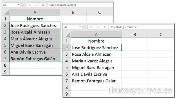 Hoja Excel mostrando rango con acentos y sin ellos