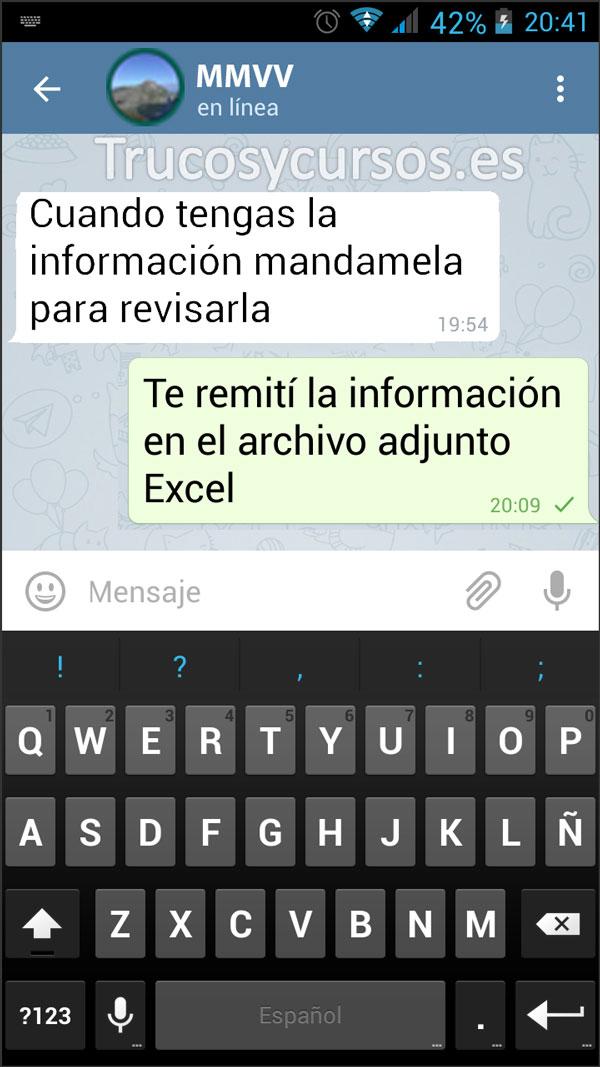 Enviar por Telegram documentos Excel: Ventana de chat del contacto