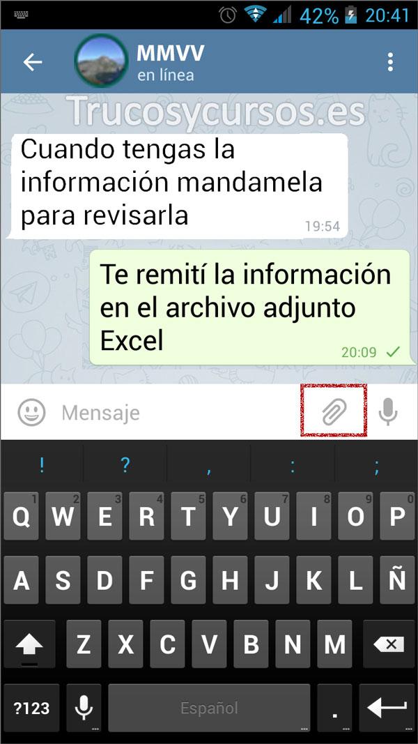 Enviar por Telegram documentos Excel: Ventana con botón adjuntar