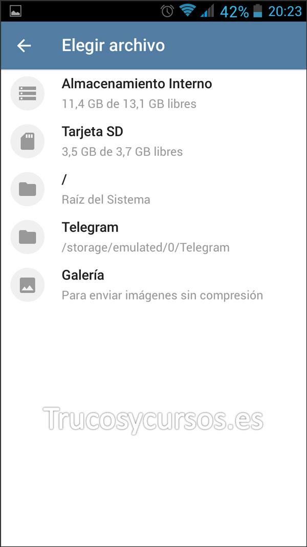 Enviar por Telegram documentos Excel: Ventana ruta del archivo