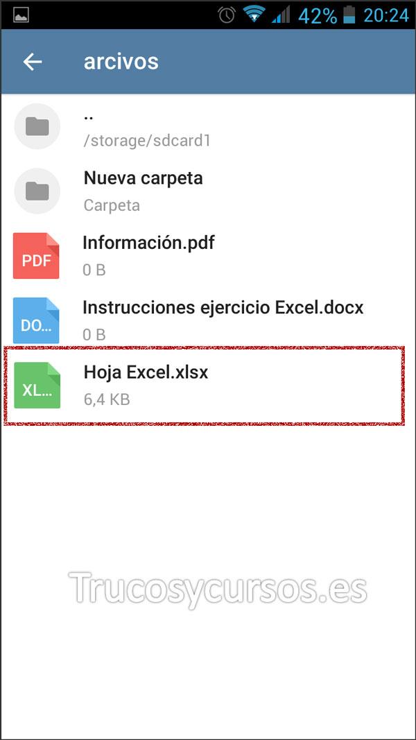 Enviar por Telegram documentos Excel: Seleción del archivo deseado