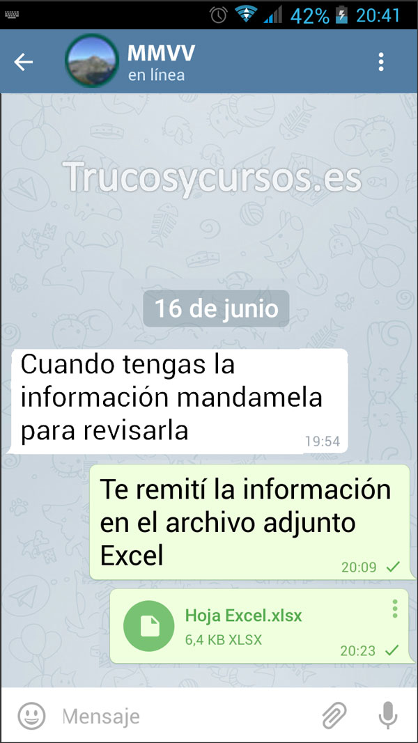 Enviar por Telegram documentos Excel: Archivo adjunto enviado