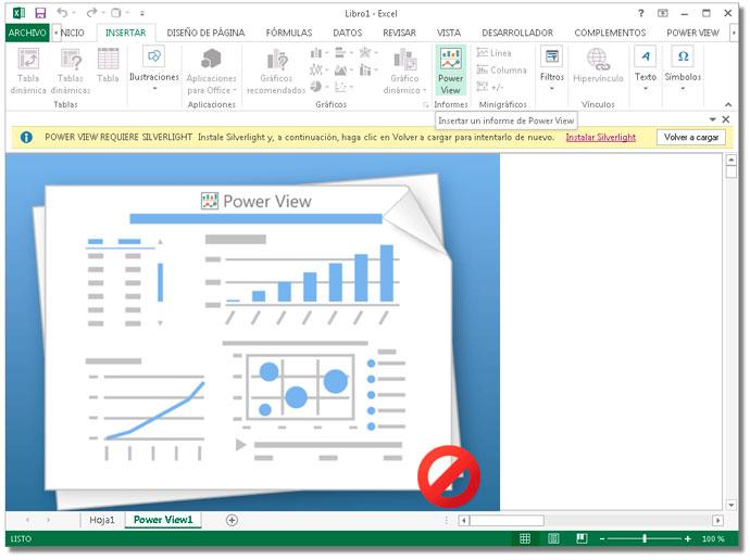 Ventana de Power View para Excel con Microsoft Silverlight activo