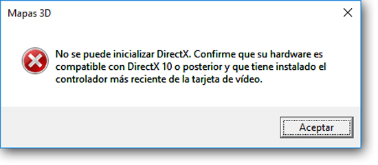 Mensaje de Error de Mapas 3D: No se puede inicializar DirectX