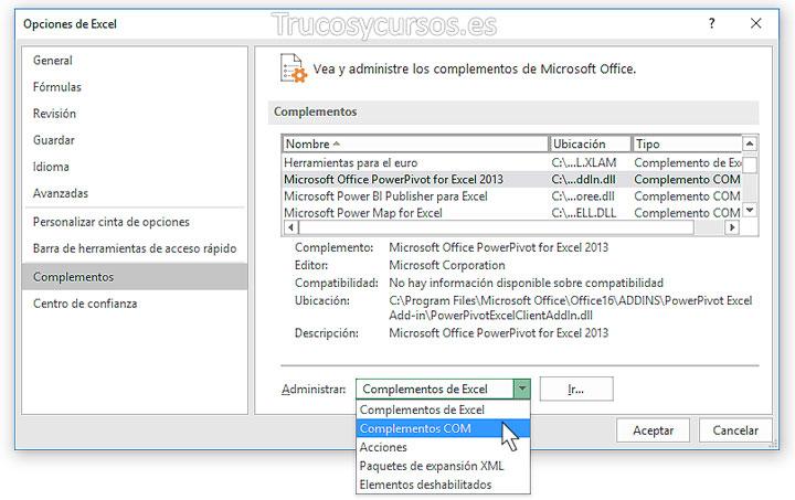 Ventana de opciones de Excel, complementos: Administrar complementos com