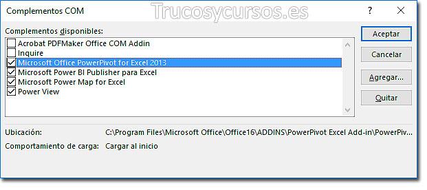 Ventana complementos com: Casilla Microsoft Office PowerPivot activada