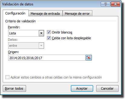 Calendario control de vacaciones: Ventana de validación de datos, Lista para los años