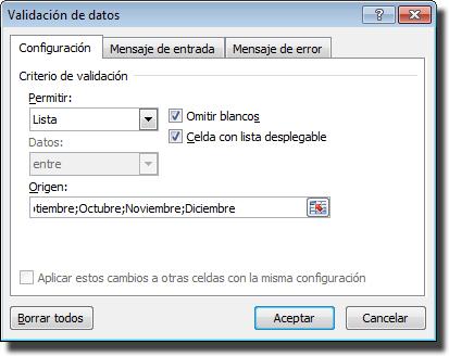 Ventana de validación de datos: Lista para los meses