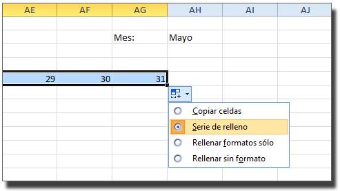 Botón de opciones: Selección de relleno para los días