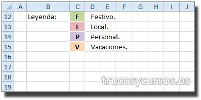 Rango C12:C15 con letra y relleno que identifica el valor en el calendario