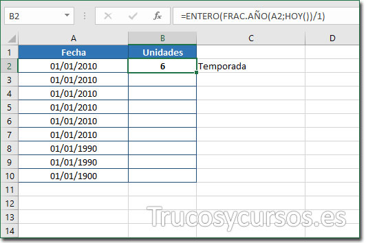 Celda B2 con el valor de 6 temporadas desde 01/01/2010