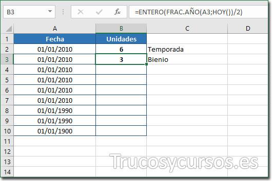 Celda B3 con el valor de 3 bienios desde 01/01/2010